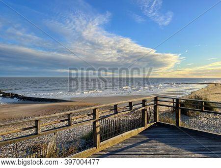 Dramatic Sunset Sky Over Beach And Ocean On Edisto Beach, Sc