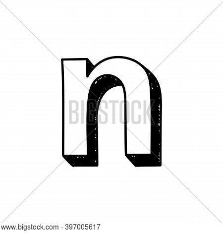 N Letter Hand-drawn Symbol. Vector Illustration Of A Small English Letter N. Hand-drawn Black And Wh