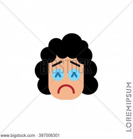 Sad And In Bad Mood Emoticon Girl, Woman Icon Vector Illustration. Style. Depressed, Sad, Stressed E