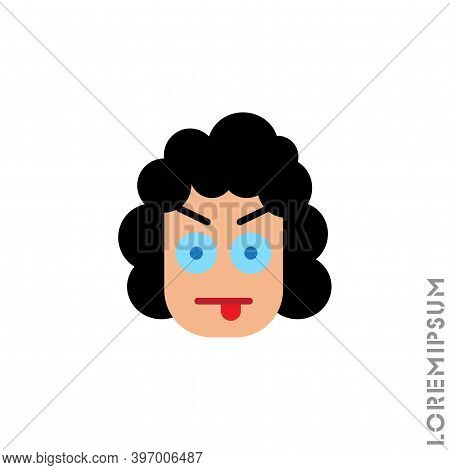 Mocking Teasing And Angry Girl, Woman Icon. Showing Tongue And Frowning Eyebrows Emoticon Icon Vecto