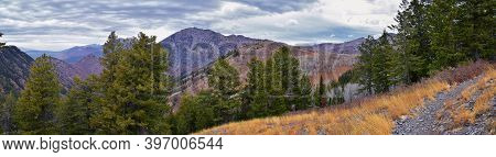 Slide Canyon Views From Hiking Trail Fall Leaves Mountain Landscape, Y Trail, Provo Peak, Slate Cany
