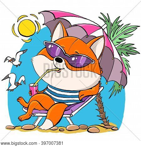 Vector Cartoon. Cute Red Fox Sits Under An Umbrella On The Beach In Summer. Against The Background O