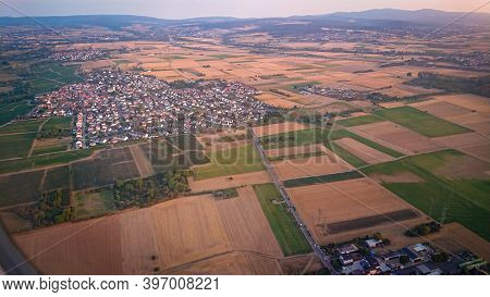 View Of The Outskirts Of Frankfurt Am Main (germany) From The Windows Of The Plane During Landing