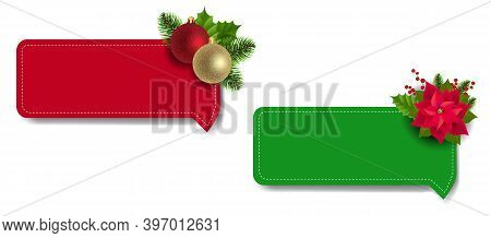 Christmas Labels Set With Christmas Holly Berry And Poinsettia With Gradient Mesh, Vector Illustrati
