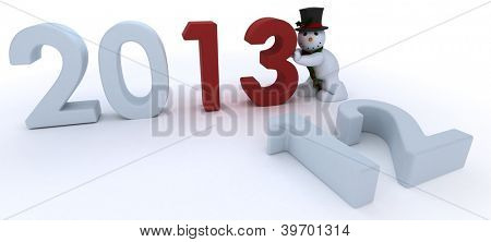 3D Remder of a snowman in hat and scarf bringing in the new year