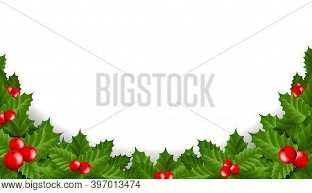 Xmas Holly Berry Frame Isolated White Background With Gradient Mesh, Vector Illustration