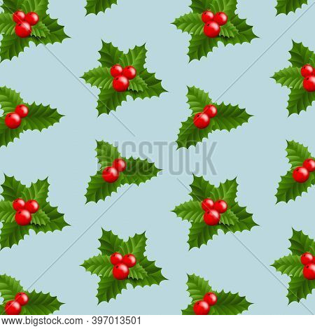 Xmas Banner With Christmas Holly Berry With Gradient Mesh, Vector Illustration