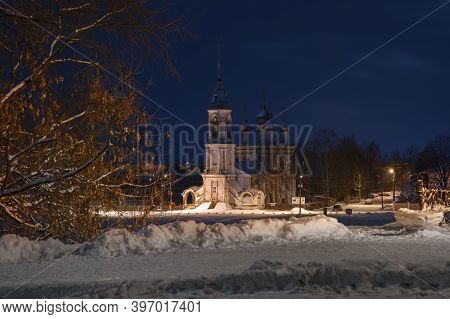 Night Winter Landscape Church In The City Of Vologda