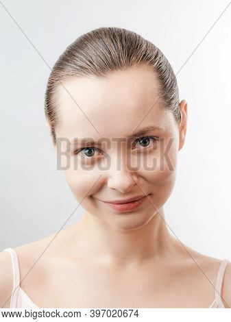 Beautiful Young Woman With Clean Fresh Skin Look Away .girl Beauty Face Care. Facial Treatment . Cos