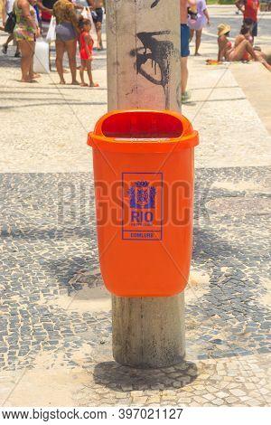 Rio De Janeiro, Brazil - November 23, 2014: View Of Typical Street Trash In Rio De Janeiro Written P