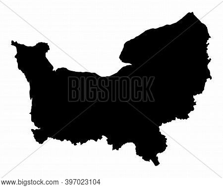 The Normandy Region Dark Silhouette Map Isolated On White Background, France