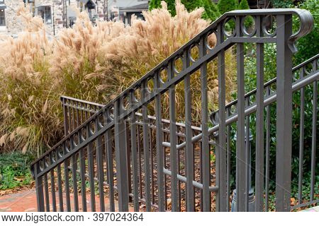 Black Iron Handrails Steel Old Metal Rail