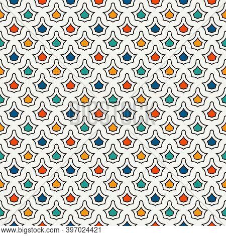 Interlocking Figures Tessellation Background. Repeated Geometric Shapes. Ethnic Mosaic Ornament. Ori