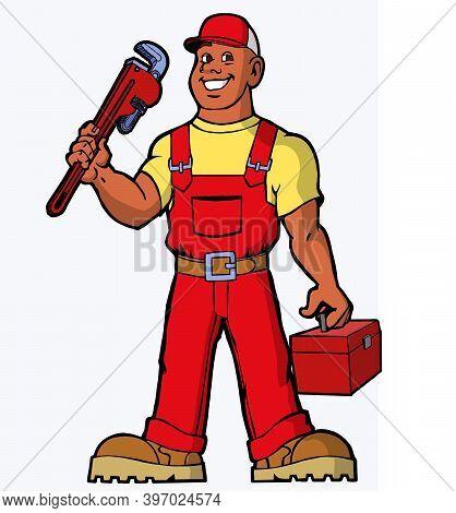 Plumber mascot, plumber character, worker cartoon happy