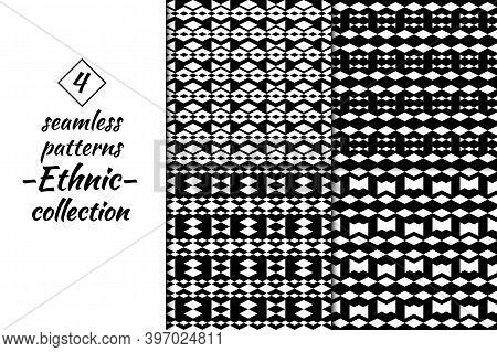 Rhombuses, Figures Seamless Patterns Collection. Folk Backdrops. Lozenges, Forms Backgrounds Kit. Et