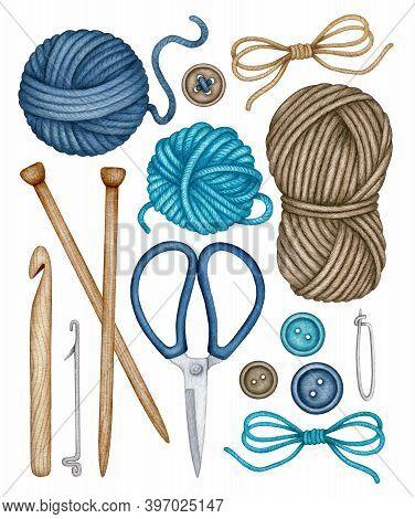 Watercolor Knitting And Crocheting Tools Set. Wooden Knitting Needles, Crochet Hook, Wool Yarn Skein
