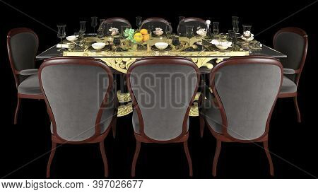 Classic Dining Table With Dining Chairs, Fruits And Wine Isolated In Black Background. 3d Rendered D