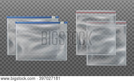 Collection Of 3d Realistic Vector Zip Lock Transparent Bags And Zip Slider Transparent Bags. Empty M