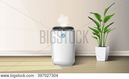 3d Realistic Vector Air Purifier In The Interior On The Wooden Floor Background Illustration With Ho