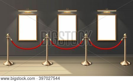 3d Realistic Vector Exhibition Museum Mock Up Paintings In Vertical Positioning On The Wall With Spo