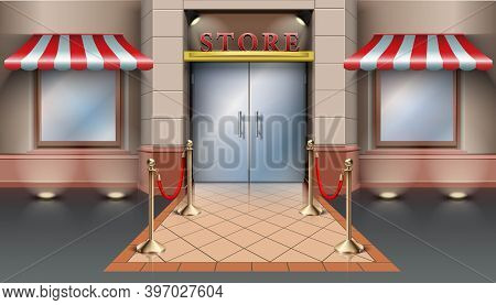 3d Realistic Vector Cartoon Store Entrance Background.