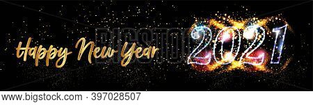 2021 Happy New Year Posters Background With Golden Light Background Text Vector Illustration - New Y