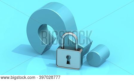 Question Mark With Padlock On Blue Background, 3d Rendering