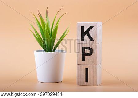 Text Kpi On Wood Blocks Next To Houseplant. Key Performance Indicator, Kpi Concept.