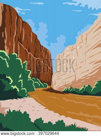 Wpa Poster Art Of The Big Bend National Park, A Large Bend In Rio Grande R