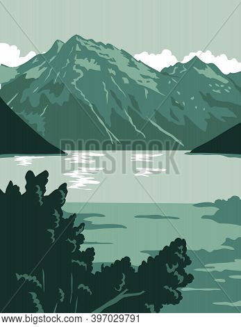 Wpa Poster Art Of The Lake Clark National Park And Preserve, An American National Park In Anchorage,