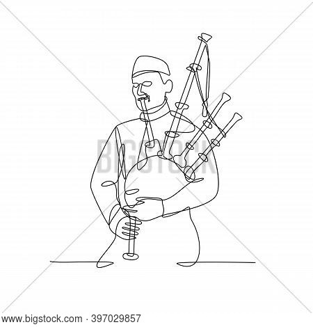 Continuous Line Drawing Illustration Of A Scottish Bagpiper Playing Bagpipe, A Woodwind Instrument U