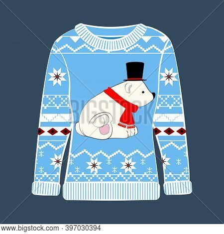 Christmas Party Ugly Sweater With A Bear Vector Illustration
