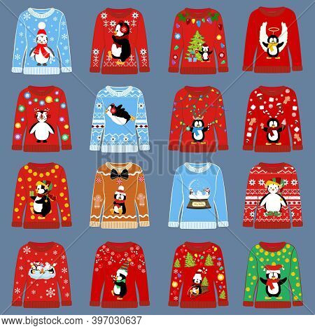 Chrismas Party Ugly Sweater Set Vector Illustration
