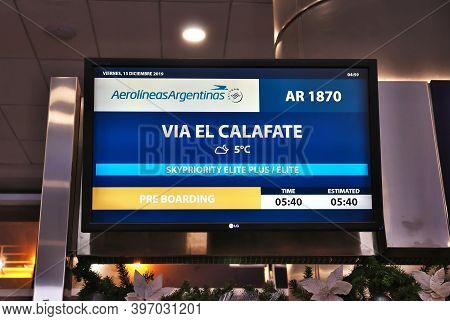 Buenos Aires, Argentina - 13 Dec 2019: Gate To El Calafate In The Domestic Airport In Buenos Aires,