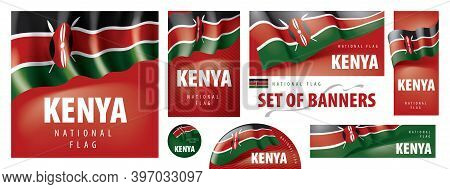 Vector Set Of Banners With The National Flag Of The Kenya