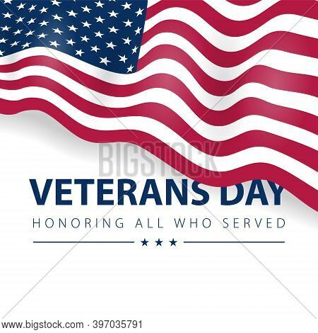 American Patriotic Poster With Usa Flag On White Background. Vector National Veterans Day Card.