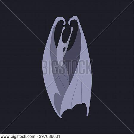 Vector Illustration Of Imaginary Animal With Wings. Cartoon Bat