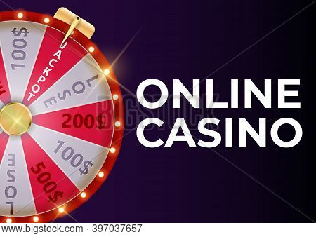 Online Casino Background Poster With Wheel Of Fortune, Lucky Icon. Vector Illustration
