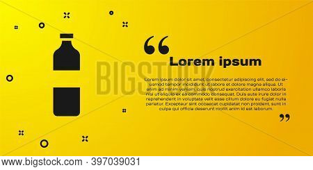 Black Bottle Of Water Icon Isolated On Yellow Background. Soda Aqua Drink Sign. Vector Illustration