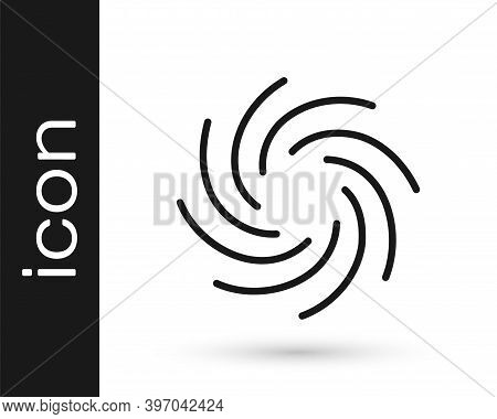 Black Tornado Icon Isolated On White Background. Cyclone, Whirlwind, Storm Funnel, Hurricane Wind Or