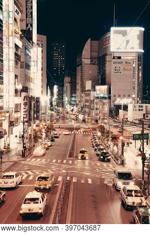 TOKYO, JAPAN - MAY 13: Street view at night on May 13, 2013 in Tokyo. Tokyo is the capital of Japan and the most populous metropolitan area in the world