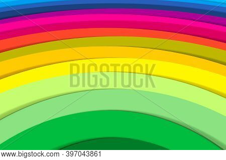 Multicolor Rainbow Lines Abstract Background 3d Render Illustration