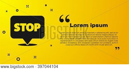 Black Protest Icon Isolated On Yellow Background. Meeting, Protester, Picket, Speech, Banner, Protes