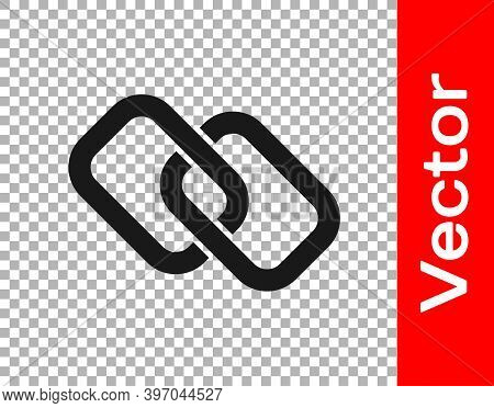 Black Chain Link Icon Isolated On Transparent Background. Link Single. Hyperlink Chain Symbol. Vecto