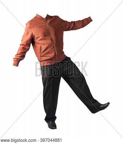 Mens Red Bomber Jacket , Black Pants And Black Leather Shoes Isolated On White Background. Mens Autu