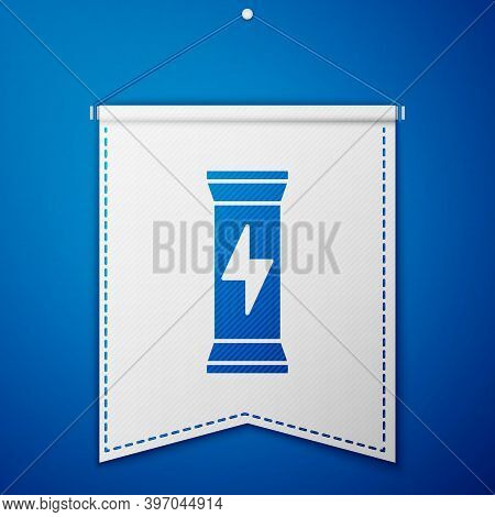 Blue Sports Nutrition Bodybuilding Proteine Power Drink And Food Icon Isolated On Blue Background. W