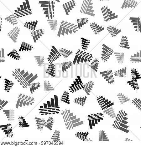 Black Pan Flute Icon Isolated Seamless Pattern On White Background. Traditional Peruvian Musical Ins