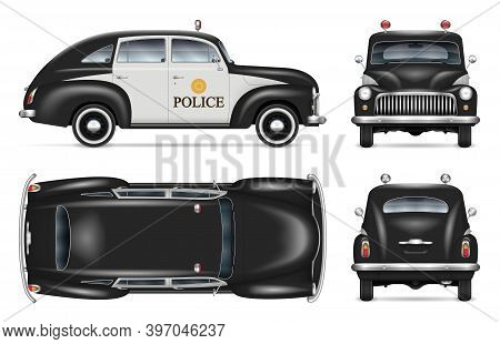 Vintage Police Car Vector Mockup On White Background View From Side, Front, Back, Top. All Elements