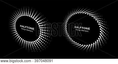 Halftone Circle Perspective Frame Abstract Dots Logo Emblem Design Element For Technology, Medical,