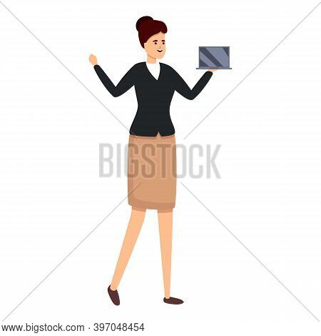 Successful Business Woman With Laptop Icon. Cartoon Of Successful Business Woman With Laptop Vector